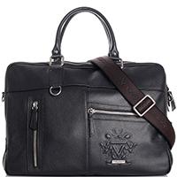 Черная сумка-портфель Qvinto Corridoni из зернистой кожи, фото