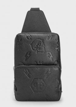 Мужской монорюкзак Philipp Plein из кожи с тиснением, фото