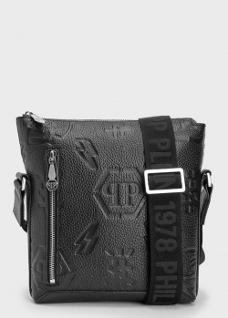 Черная сумка Philipp Plein из зернистой кожи, фото