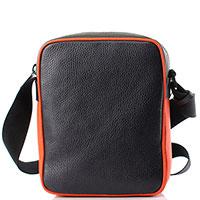 Сумка Emporio Armani из зернистой кожи черная с оранжевым, фото