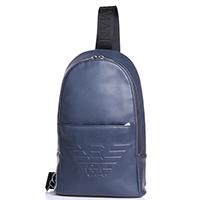 Синий монорюкзак Emporio Armani с фирменным тиснением, фото