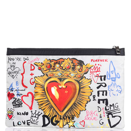 Текстильный клатч Dolce&Gabbana с ярким принтом, фото