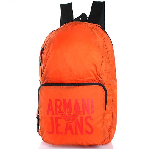 Текстильный спортивный рюкзак Armani Jeans оранжевого цвета, фото