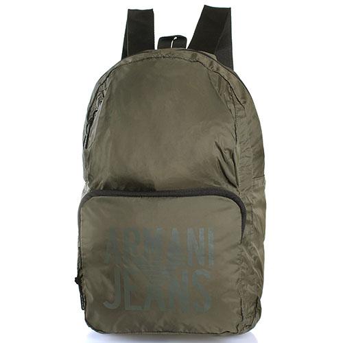 Текстильный спортивный рюкзак Armani Jeans зеленого цвета, фото