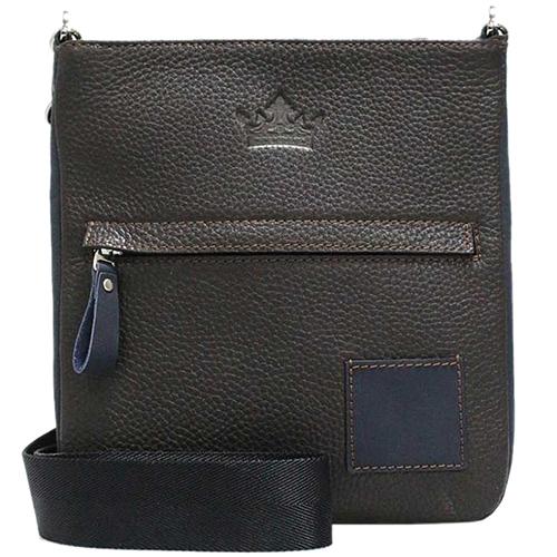 Коричневая сумка Amo Accessori Paolo с жаккардовым ремнем, фото