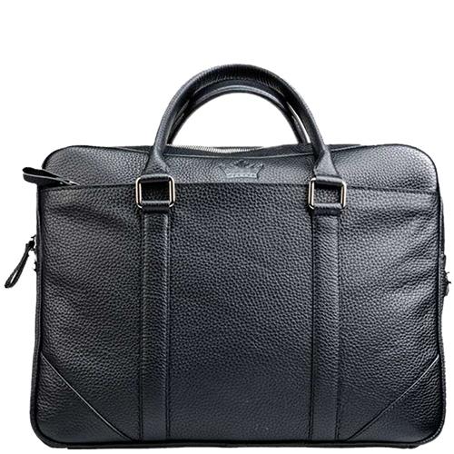 Черная сумка Amo Accessori Comfort с брендовым тиснением, фото