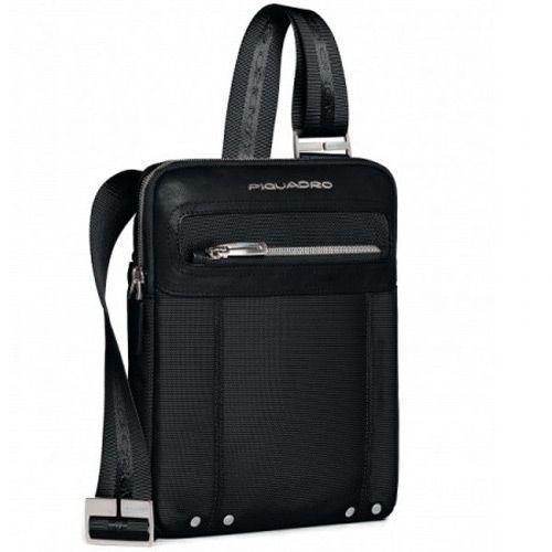 Мужская вертикальная сумка Piquadro Link из текстиля и кожи, фото