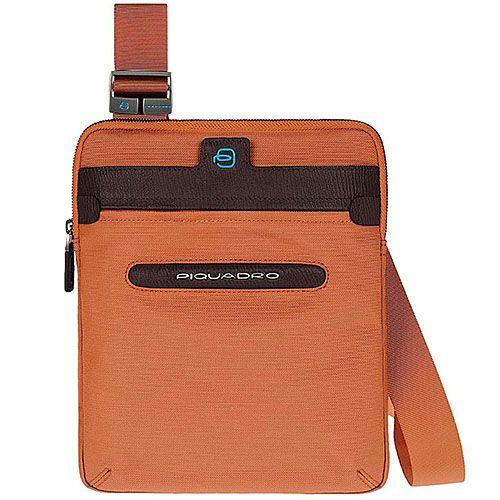 Сумка Piquadro Signo вертикальная оранжевая на ремне, фото