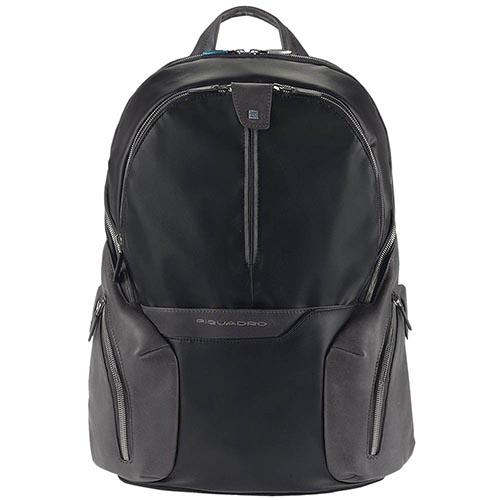 Черный кожаный рюкзак Piquadro Coleos с отделами для ноутбука и планшета, фото