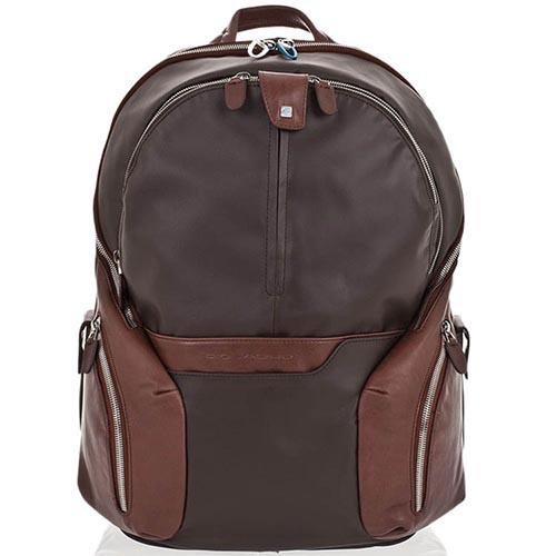 Коричневый кожаный рюкзак Piquadro Coleos с отделами для ноутбука и планшета, фото