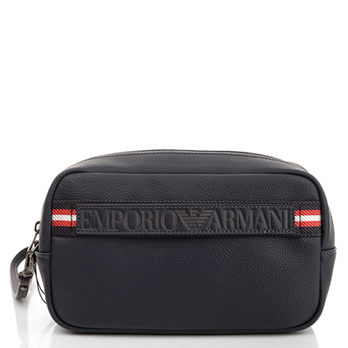 Синяя сумка Emporio Armani с кистевым ремнем, фото
