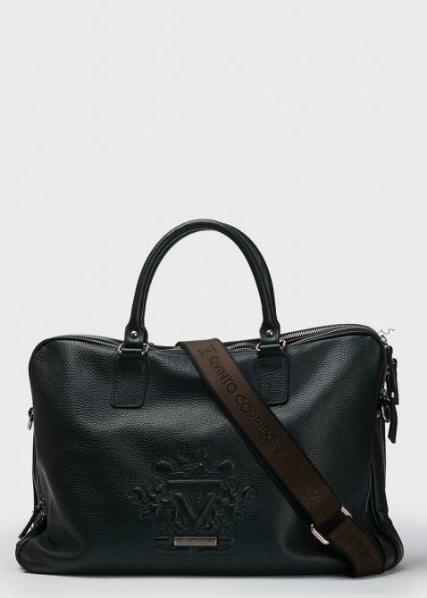 Черная сумка-портфель Qvinto Corridoni из мягкой кожи, фото