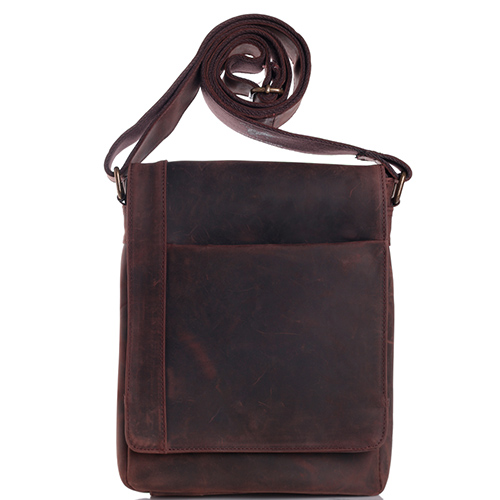 Темно-коричневая сумка Vera Pelle из гладкой кожи, фото