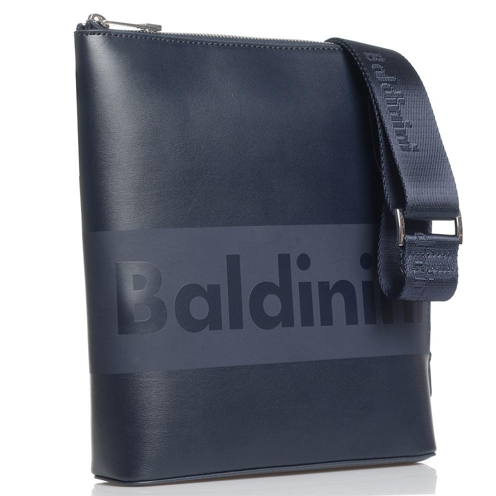 Синяя сумка Baldinini Kevin с фирменным принтом