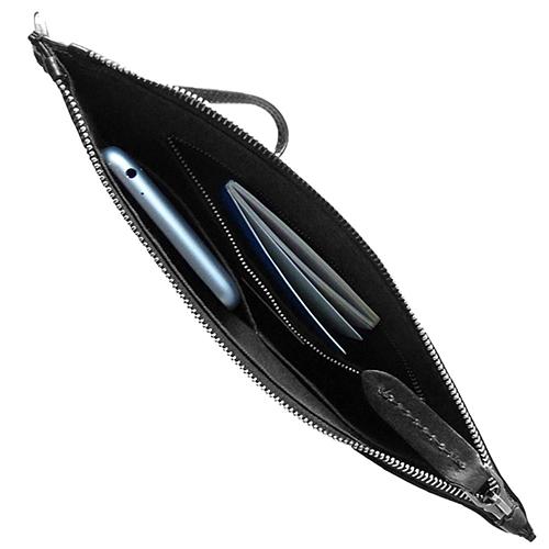 Мужской кожаный клатч The Bridge Story Uomo черного цвета с кистевым ремнем, фото