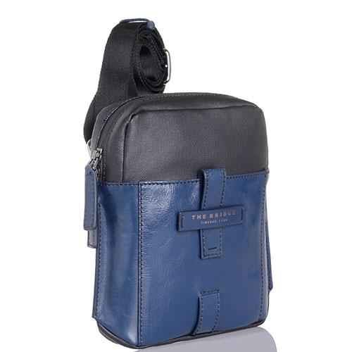 Небольшая кожаная сумка The Bridge Hydro синего цвета с наплечным ремнем, фото