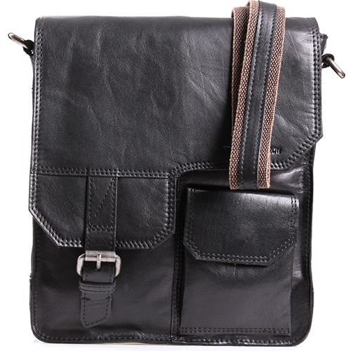 Мужская сумка с клапаном и наружным карманом Spikes&Sparrow черного цвета, фото