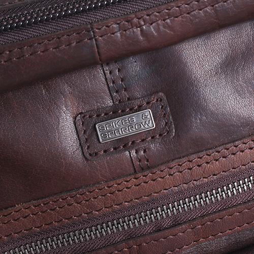 Сумка для ноутбука Spikes&Sparrow из гладкой кожи коричневого цвета, фото