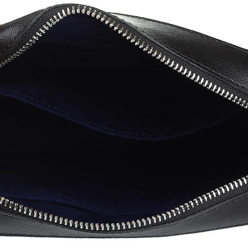 Мужская сумка Lancaster из кожи Сафьяно черного цвета, фото