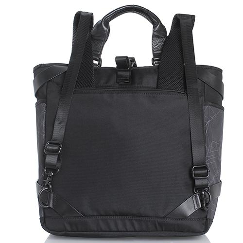 Черная сумка-рюкзак Bikkembergs с геометрическим принтом, фото