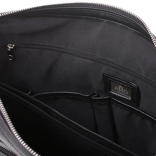 Сумка для ноутбука Amo Accessori из гладкой кожи черного цвета, фото