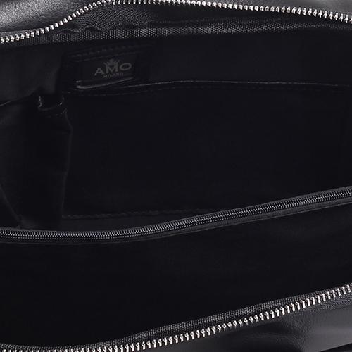 Портфель Amo Accessori из гладкой кожи черного цвета, фото