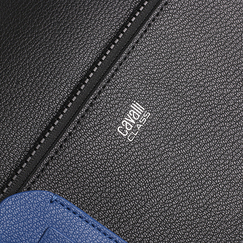 Сумка для ноутбука Cavalli Class Bullet Man из черной фактурной кожи, фото
