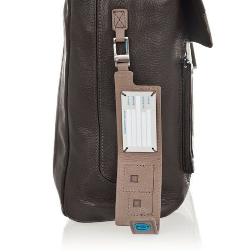 Портфель Piquadro Vibe кожаный бежево-коричневый с отделением для ноутбука и креплением на дорожную сумку, фото