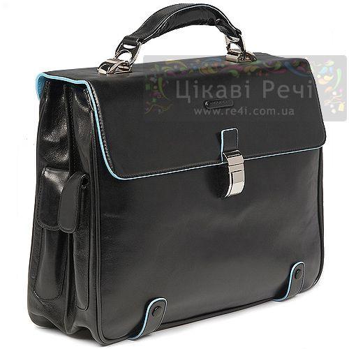 Портфель на 2 отделения Piquadro Blue square черный, фото