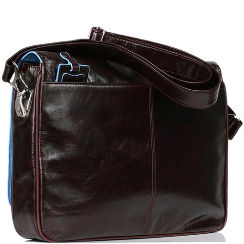Наплечная коричневая сумка Piquadro Blue Square с отделом для ноутбука, фото