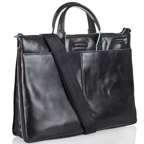 Двуручная черная сумка Piquadro Blue Square из черной кожи с кантом, фото