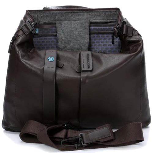 Коричневая сумка Piquadro Pulse для ноутбука из кожи унисекс, фото