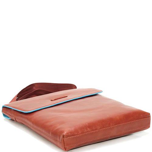 Наплечная мужская сумка Piquadro Blue Square из кожи оранжевого цвета, фото