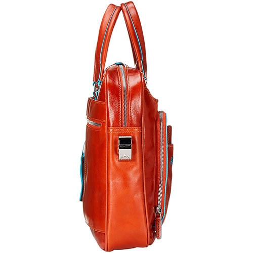 Двуручная кожаная сумка Piquadro Blue Square оранжевого цвета, фото