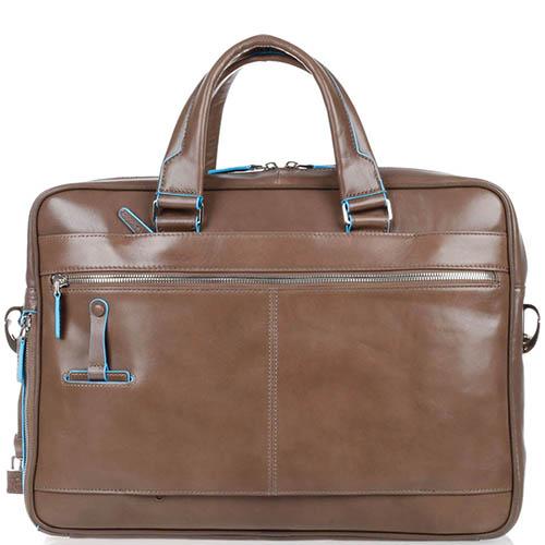 Двуручная кожаная сумка Piquadro Blue Square бежевого цвета, фото