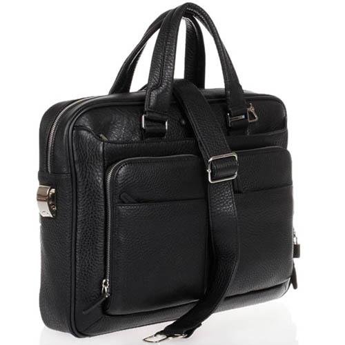 Кожаная вместительная сумка Piquadro Modus из черной зернистой кожи, фото