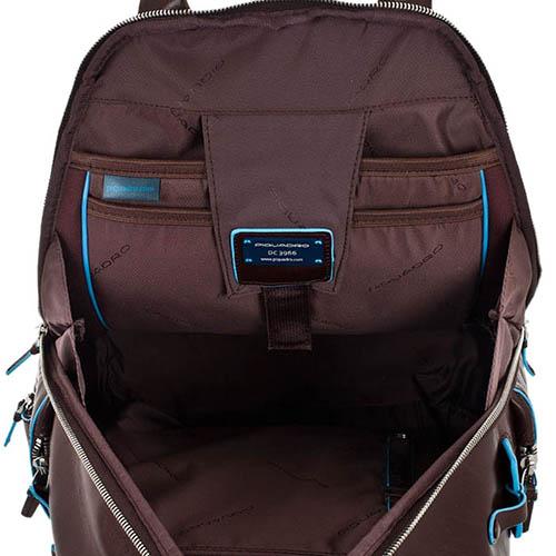 Компактный кожаный рюкзак Piquadro Blue Square коричневого цвета, фото