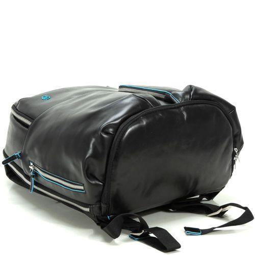 Кожаный рюкзак Piquadro Blue Square черный с отделениями для iPad и iPad Air, фото