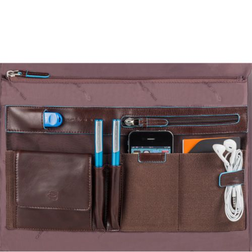 Сумка Piquadro Blue Square кожаная коричневая с отделениями для ноутбука и iPad или iPad Air, фото
