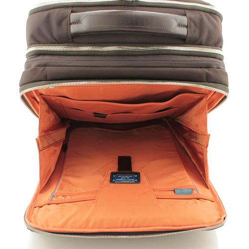 Коричневая сумка-рюкзак Piquadro Link из кожи и текстиля, фото