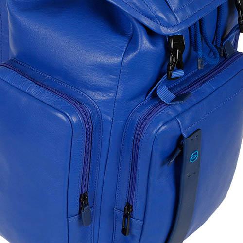 Синий кожаный рюкзак Piquadro Pulse с отделением для ноутбука, фото