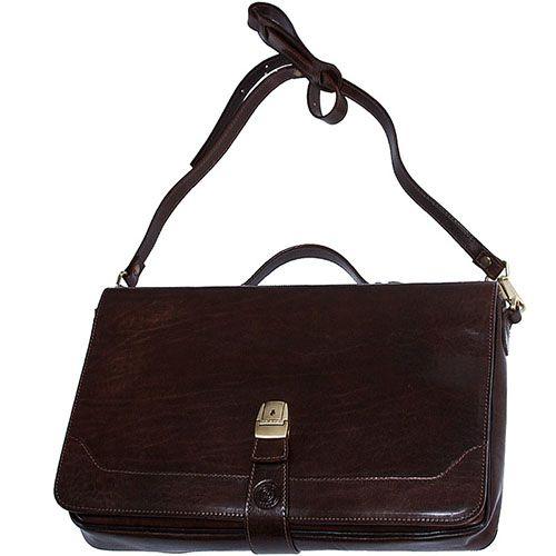Кожаный портфель Giudi из фактурной кожи коричневого цвета, фото