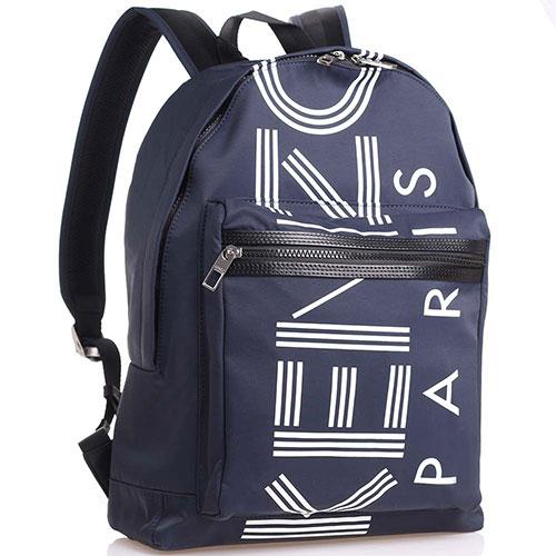 Синий рюкзак Kenzo из текстиля с надписью, фото