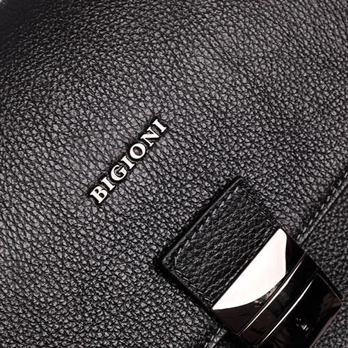 Портфель Dino Bigioni черный из зернистой кожи, фото