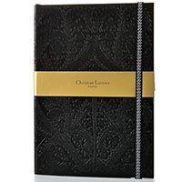Блокнот Christian Lacroix Papier Paseo черный рельефный формата B5 с закладкой и эластичной зажимающей лентой, фото