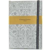 Блокнот Christian Lacroix Papier Paseo серебряный рельефный А5 с закладкой и эластичной зажимающей лентой, фото