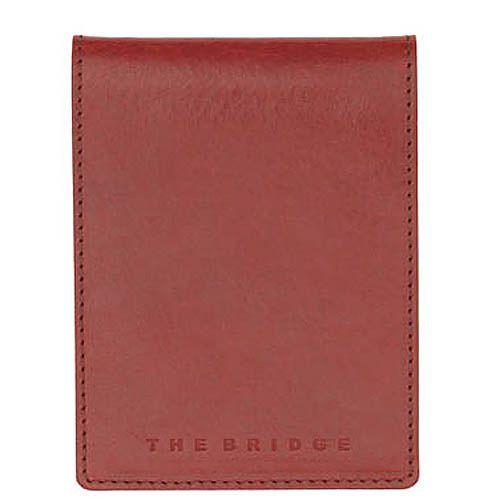 Блокнот в футляре The Bridge Story Uomo кожаный красный с шариковой ручкой, фото