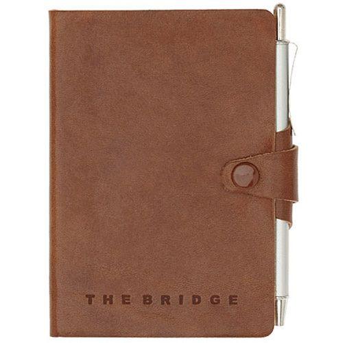 Записная книжка с алфавитной разметкой The Bridge Story Uomo кожаная коричневая с шариковой ручкой, фото