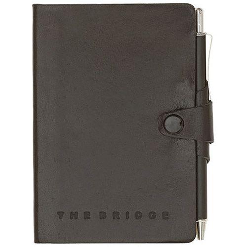 Телефонная книга The Bridge Story Uomo кожаная черная с шариковой ручкой, фото