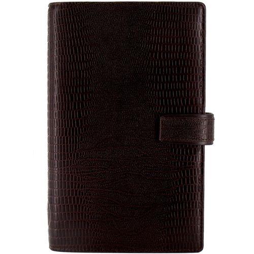 Органайзер Filofax Compact Luxe кожаный темно-коричневый с фактурой рептилии, фото